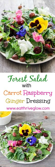 Easy salad recipe with a delicious carrot raspberry ginger dressing. Simple and healthy! Has hazelnuts, thyme, cherries, and berries.