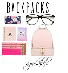 """""""what's in my """"backpack """""""" by aya-halabi on Polyvore featuring mode, Michael Kors, ban.do, Boohoo, Kate Spade, ZeroUV, backpacks, contestentry et PVStyleInsiderContest"""