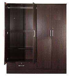 Buy Yukio 4 Door Wardrobe in Walnut Finish by Mintwud Online - 4 Door Wardrobes - Wardrobes - Furniture - Pepperfry Product Tall Cabinet Storage, Locker Storage, 4 Door Wardrobe, Wardrobe Furniture, Walnut Finish, Wardrobes, It Is Finished, Doors, Stuff To Buy