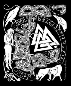 The story of Woden's sacrifice on  the world tree for nine days, the  founding of the runes, his wolves  Geri & Freki, his ravens Hugin &  Munin and the Valknut.
