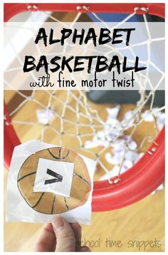 This was such a great movement activity working on letter recognition and fine motor skills and could be used to work on several other early learning concepts. Get ready to shoot some hoops in this fun Alphabet Basketball Game.