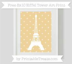 Pastel Bright Orange Star Pattern  8x10 Eiffel Tower Art Print