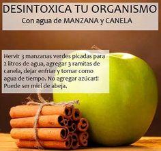 Agua de manzana y canela para desintoxicar tu organismo #salud #bienestar