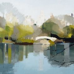Lisa Breslow, Bow Bridge Reflections 2014, Oil and pencil on panel