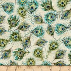 Moonlight Peacock Metallic Peacock Feathers Parchment/Gold from @fabricdotcom  Designed by Punch Studio for Hoffman California International Fabrics, this cotton print fabric with metallic elements is perfect for quilting, apparel and home decor accents. Colors include gold, light beige and shades of blue and green.