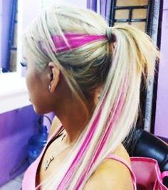 i want to do this sooo bad. Bleach blond with hot pink.