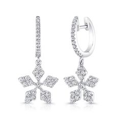 Petite Bouquet Collection 14K White Gold Diamond Earrings LVEJ06 - From the Petite Bouquet collection stunning 14K white gold earring set with 68 round diamonds with total weight of 0.81 ct.