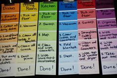 Supposed to be to organize chores... spread completion checklists?  different color for the different sections?
