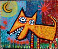 """""""Moon Doggie"""" mixed media painting by Tracey Ann Finley"""