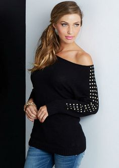 Studded Off Shoulder Sweater  http://www.alloyapparel.com/product/studded+off+shoulder+sweater+175050.do?sortby=ourPicks