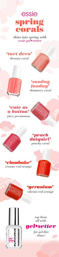 shine into spring with essie gel setter top coat and coral shades