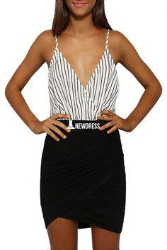 New Stylish Ladies Women Casual Sleeveless Spaghetti Strap Patchwork Striped Dress