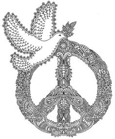 ☮ American Hippie Art ☮ Coloring Page .. Peace