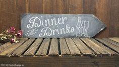 DINNER & DRINKS ARROW Vintage Chalk Board by MyPrimitiveBoutique #EVENT #DINNER #DRINKS #KITCHEN #WEDDING #SIGN #ARROW #ENTERTAINMENT #BEVERAGE #RECEPTIONDECOR #CHALKBOARD