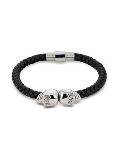 Northskull+Black+Nappa+Leather+&+Rhodium+Twin+Skull+Men's+Bracelet