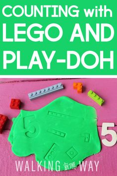 Preschool Busy Bag: Counting with LEGO and Play-Doh - Walking by the Way Playdough Activities, Counting Activities, Kids Learning Activities, Fun Learning, Learning Cards, Learning Numbers, Preschool At Home, Preschool Ideas, Lego Words