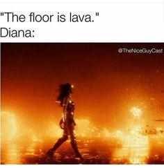 the floor is lava wonder woman meme