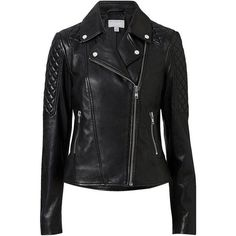 Witchery Leather Biker Jacket (1,480 PEN) ❤ liked on Polyvore featuring outerwear, jackets, tops, coats, coats & jackets, slim fit leather jacket, leather moto jackets, leather motorcycle jacket, leather biker jackets and stitch jacket