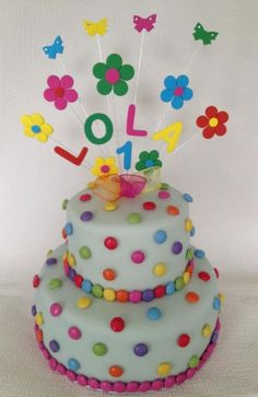 Smarties cake/ Name and Flower Sticks