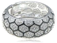 Metal Tone Hexagon Patchworked Stone Swarovski Crystal Element Bracelet Bangle Alilang. $24.99