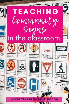 Looking for a way to teach community signs in your classroom? Try these tips I have for having students interact with more realistic materials! Autism Classroom, Classroom Activities, Life Skills Activities, Vocabulary Activities, Communities Unit, Kindergarten Social Studies, Special Needs Students, Preschool Special Education, School Psychology