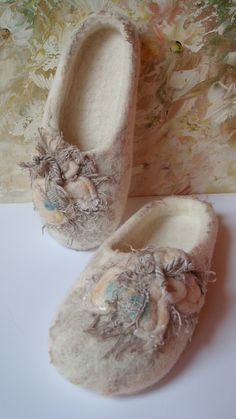 Felted wool slippers with linen-the kind of projects one can do  with  felted wool is endless