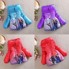 New Kids Frozen Anna Elsa Princess Girls Jacket Winter Coat Outerwear 4 5 6 7 8 #BasicCoat #EverydayHoliday