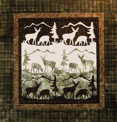 Finding some fine deer quilts? Applique Patterns, Applique Quilts, Fabric Patterns, Block Patterns, Quilting Projects, Quilting Designs, Quilting Ideas, Wildlife Quilts, Man Quilt