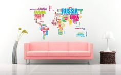 World wall map removable vinyl sticker with colourful country names to improve overall living room experience by Amazing 4 use