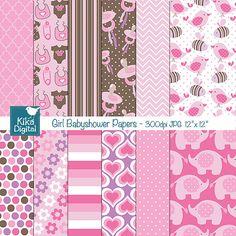 Girl Babyshower Digital Papers - Pink Digital Scrapbooking Papers - card design, invitations, background, web design - INSTANT DOWNLOAD
