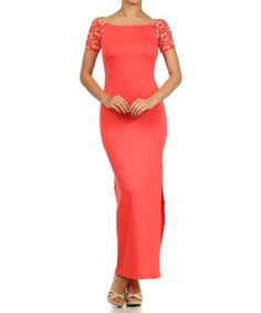 Take+a+look+at+the+Coral+Lace+Boatneck+Maxi+Dress+-+Women+on+#zulily+today!