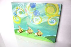 Keep Hopping Bunnies, Baby Bunnies Painting, Original, Nature, Etsy Kids, Landscape, Kites, Green, Blue, Yellow, Pink, Aqua, Wind, Rabbits. $75.00, via Etsy.