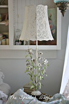 The Spanish Dahlia - Lace Blouse Lampshade Tutorial Lampshades, Decor, Shabby Chic Lighting, Lace Lampshade, Diy Lamp Shade, Home Decor, Shabby Chic Furniture, Chic Furniture, Cottage Lighting