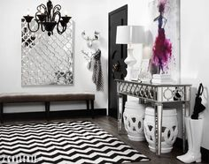 Make a statement with pattern! Repetitions of circles in the Sophie Mirror, Sophie Console Table, and Palmer Stools make a neutral palette visually stimulating. Get the look: http://zgal.re/makentr