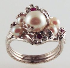 Five Pearl Silver Ring - with Dazzling Red Rubies