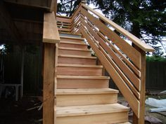 THINK I found the railing I want for my deck! Then, on the sides that I want privacy.I just make all the railing HIGHER and CLOSER together (no spaces) Exterior Stair Railing, Outdoor Stair Railing, Porch Stairs, Deck Railings, Stair Banister, Front Stairs, Horizontal Deck Railing, Deck Railing Design, Railing Ideas