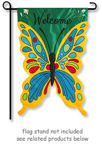 Welcome Butterfly Garden Flag from Evergreen's Appliqué Flag Collection.  www.justforfunflags.com
