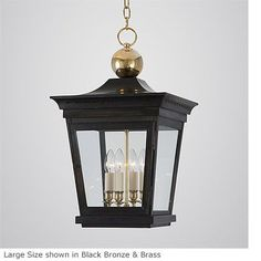 "16"" but that does not include chain or ceiling plate.  Love it.  Hanging Westbrook Lantern HL 241"