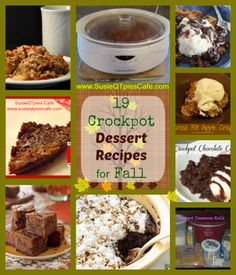 Top 19 Crockpot Dessert Recipes for Fall and Menu Plan Link Party #crockpot #slowcooker #Fall #desserts @SusieQTpies Cafe Cafe