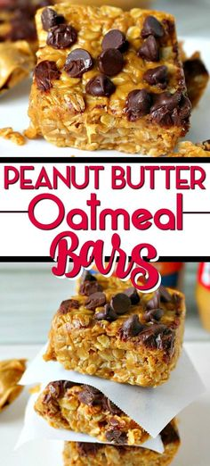 These No Bake Peanut Butter Oatmeal Bars are the perfect quick breakfast or afternoon snack. Ready in 10 minutes - Healthy and delicious! #nobake #chocolate #peanutbutter #oatmeal #cookies #bars #vegan #glutenfree #dessert