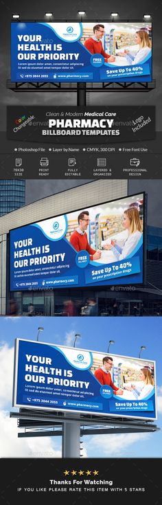 Buy Pharmacy Medical Care Billboard by Creative-Touch on GraphicRiver. This Billboard Template is perfectly suitable for promoting your Business. You can also use this template in multipur. Medical Health Care, Promote Your Business, Pharmacy, Billboard, Make It Simple, Photoshop, Organization, Templates, Cover