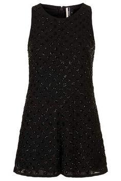 Black Embellished Playsuit