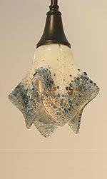 Custom fused art glass for pendant light fixtures