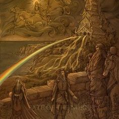 A certain smith arrived at Asgard one day and offered to build the gods a high wall around their home to protect them from any who might wish them ill. The fortification of Asgard Trippy Cartoon, Norse Pagan, Image Blog, Celtic Mythology, Asatru, Norse Vikings, Viking Art, Ancient Mysteries, Anglo Saxon
