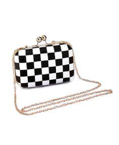 Monochrome Plaid Shoulder Bag