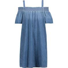 Current/Elliott - Madeline Off-the-shoulder Cotton-chambray Mini Dress (305 BRL) ❤ liked on Polyvore featuring dresses, light denim, blue off the shoulder dress, western dresses, short dresses, off shoulder dress and ruched dress