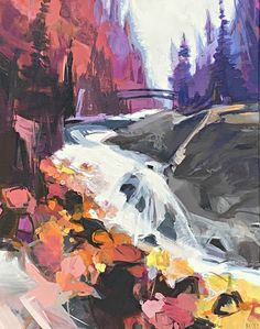 Bridge Over Tumbling Water acrylic landscape painting by Becky Holuk | Effusion Art Gallery + Glass Studio, Invermere BC Mountain Paintings, Nature Paintings, Landscape Paintings, River Painting, Boat Painting, Spring Landscape, Canadian Artists, Modern Art, Bridge