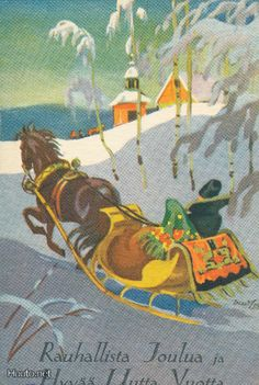 Vintage Finnish Christmas Card by Martta Wendelin ~ Orange Accents Christmas Horses, Christmas Past, Winter Christmas, Green Christmas, Vintage Christmas Cards, Retro Christmas, Yule Celebration, Girl Face Drawing, Dashing Through The Snow