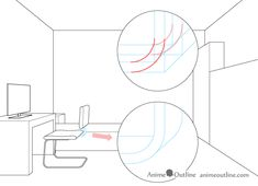 One point perspective drawing computer chair backrest attachment One Point Perspective Room, Perspective Drawing, Drawing Reference, Line Drawing, Art Drawings, Oc, Chair, Simple, Board