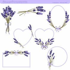 You can use for: - scrapbooking - invitations - cards - stickers - paper crafts - webdesign - small commercial products - T-shirt design - logo design - jewelry - mug design 7 PNG file - 300 dpi high resolution clipart SIZE: flower flower frame Lavender Crafts, Lavender Flowers, Scrapbooking Invitation, Invitations, Embroidery Stitches, Embroidery Patterns, Borders And Frames, Flower Frame, Mug Designs